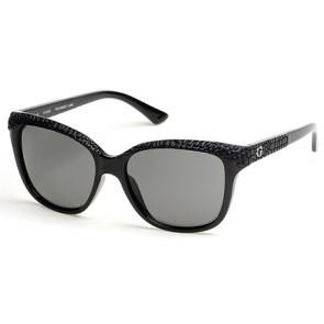 Guess Gu7401 Sunglasses-01D-Shiny Black-Smoke Polarized
